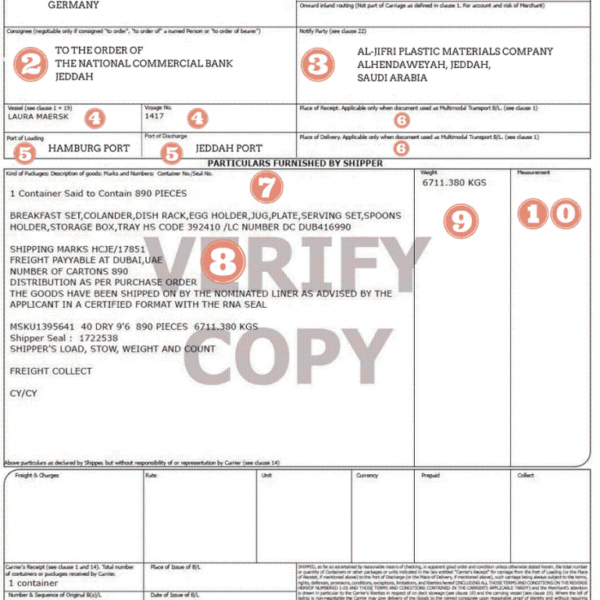 bill of lading china