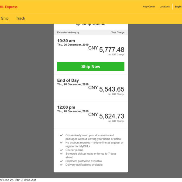 dhl price china usa parcel