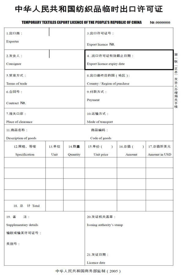export licence china